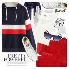 """Striped Hoodie - Romwe"" by anchystar90 ❤ liked on Polyvore featuring Burberry, Versace and Converse"