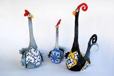 Figurine de poulet Paperclay Sculpture la main par SoulOfPaperArt