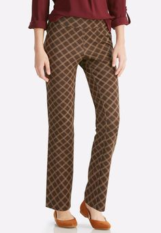Add intrigue to your work week in these pull-on pants, featuring a soft ponte knit fabrication and captivating windowpane print.         83% rayon, 12% nylon, 5% spandex     Machine wash     Imported