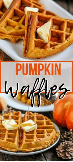 Using just 2 bowls make these homemade Pumpkin Waffles a part of your Fall breakfast tradition With warm spices and yummy pumpkin they re a must make Pumpkin Spice Waffles, Pumpkin Spice Latte, Pumpkin Pumpkin, Pumpkin Carving, Pumpkin Gnocchi, Purple Pumpkin, Pumpkin Painting, Pumpkin Bars, Pumpkin Seed Recipes