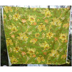Waverly Spanish Crewel Flowers Green Yellow Orange Decorator Fabric 2 1/2 Yds