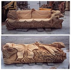 """Butterfly and Frogs"" A bench I carved for a fellow carver and good friend of mine, Captn Dave in Townsend, Tennessee"