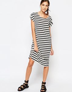 Image 1 ofSelected Ivy Knee Length Dress in Stripe