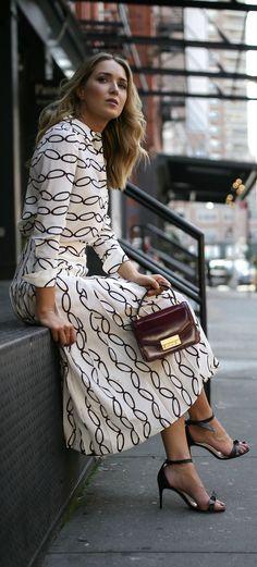 Transitional Favorites // Patterned blouse, pleated midi skirt, black  ankle strap sandals, burgundy handbag {Tory Burch, Alexandre Birman, workwear, wear to work style, creative office style}