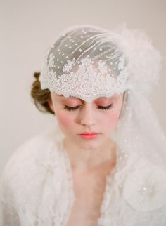French inspired bridal lace cap with veil