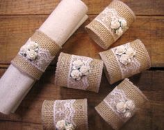 Burlap Napkin Rings, Burlap/Lace Rustic, Set of 6, Lace and Roses, Rustic Wedding Decor