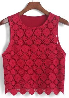 Shop Lace Crop Tank Top at ROMWE, discover more fashion styles online. Red Tank Tops, Lace Crop Tops, Lace Tank, Crop Shirt, Cropped Tank Top, Crop Tank, Look Legging, Red Lace Top, Crop Top Outfits