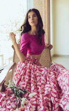 Mogra - Pink Paisley Lehenga 2 - Mehendi Outfits - Buy online under Indian Attire, Indian Ethnic Wear, Indian Style, Indian Dresses, Indian Outfits, Cotton Lehenga, Lehenga Skirt, Pink Lehenga, Lehenga Choli