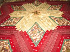 "Quilted Christmas Tree Skirt Quilt constructed of 100% cotton fabric in burgundy, gold and green with Teddy Bear Angels playing harps, trumpets and drums.  Makes a fabulous present for someone's birthday, anniversary and how wonderful for newlyweds first Holiday together when given as a Wedding present.   Quilted with variegated gold thread.  Edged with burgundy Decorator cording.  Lined with low-loft polyester batting.  Backed with gold muslin.  Diameter: 63"" x 72"" - #quiltsyteam"