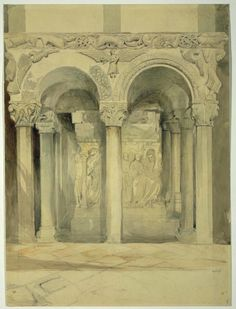 John Ruskin - End View of the Pulpit in the church of San Ambrogio, Milan - Drawing -19th Century -Pencil with light washes of colour