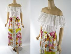 Vintage 1970s Patio Dress Drop Shoulder White Eyelet Maxi by John of from alleycatvintage on Ruby Lane