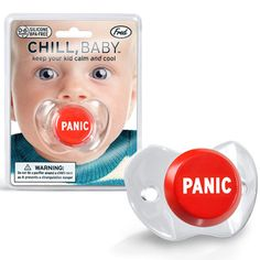 Panic Button Baby Pacifier - Hilarious pacifier is a must-have for every new mom and makes a funny baby shower gift! :: Fun Slurp