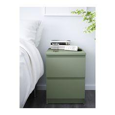 MALM Cómoda de 2 cajones - verde claro - IKEA