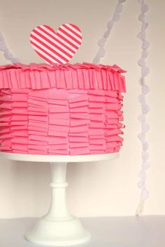 Ruffle Cake Valentines Box for girls.