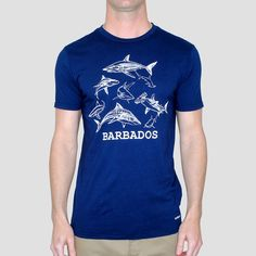 barbados and sharks go together like you and that girl in sociology class who finally noticed you once you wore this tee. go get 'em, tiger...shark.