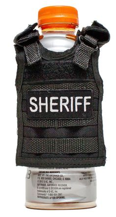 Could, quite possibly be, the perfect koozie for Matt!! Miniature Tactical Vest Beverage Koozie  SHERIFF  by RescueTees, $12.99