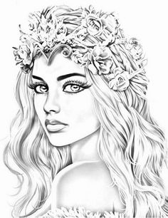 Coloring Pages For Girls, Colouring Pics, Coloring Books, Girl Drawing Sketches, Woman Drawing, Girly M, Cute Easy Drawings, Angel And Devil, Woodburning