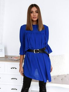 Μπλούζα Διαφάνεια Με Ζώνη Μπλε - Day Like This Days Like This, Shirts, Tops, Dresses, Fashion, Vestidos, Moda, Fashion Styles, Dress