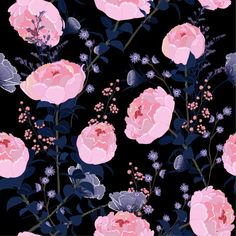 Free Digital Scrapbooking, Navy Pink, Blue, Peonies, Draw, Floral, Flowers, Vector Background, Prints