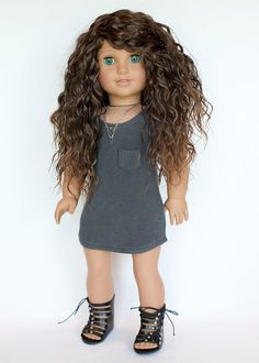 American Girl Doll grey knit T shirt dress by EverydayDollwear on Etsy