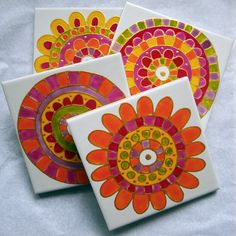 Hand Painted Ceramic tile coasters www.jocelynproustdesigns.com.au