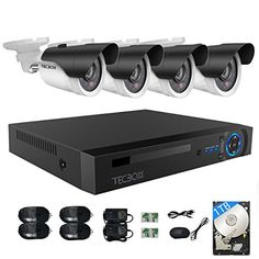 TECBOX 4CH AHD DVR Video Record with 4 720P Waterproof Cameras for Home Security System Remote Viewing on iPhone iPad and Android devices 1TB Hard Drive Included >>> Click image for more details.Note:It is affiliate link to Amazon.