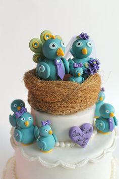 I due sposi lavorano nel mondo del web e sono appassionati del social Twitter? Allora ecco il cake topper che fa per loro.  #wedding #matrimonio