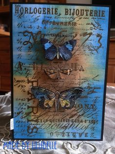 card *Butterflies and moths* made with rubber stamps and mixed media by http://lillibelles.blogspot.de/