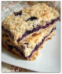 Easy Blueberry Crumb Bars ~ sugar, flour, shortening, egg, cinnamon, blueberries thickened with cornstarch-sugar; baked; enjoy