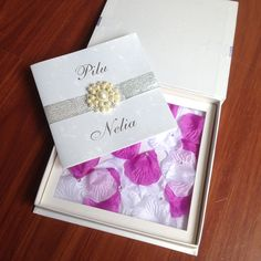 Luxury Boxed Wedding Invitations With Rose Petal
