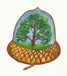 Graphic icon symbolizing the original 300 year old oak tree within the new acorn of life.
