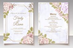 Premium Vector | Elegant floral template wedding card Wedding Invitation Card Template, Vintage Wedding Invitations, Watercolor Wedding Invitations, Wedding Frames, Wedding Cards, Blue Floral Wallpaper, Hand Drawn Flowers, Blooming Rose, Birthday Greeting Cards