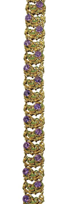 GOLD, AMETHYST AND ENAMEL CHOKER NECKLACE,  CIRCA 1900.  Composed of green enamel flourishes links, set with round amethysts, length 13 inches.