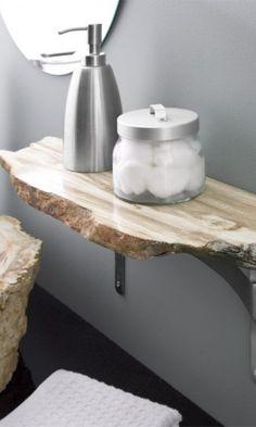above toilet #Granite #Bathroom #Idea — Blogger: WellnessSisters