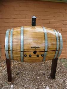 made from used whiskey barrel,allowing even more flavor to the grill. Barrel Bbq, Barrel Smoker, Bourbon Barrel, Whiskey Barrels, Bbq Meat, Bbq Grill, Grilling, Diy Smoker, Homemade Smoker