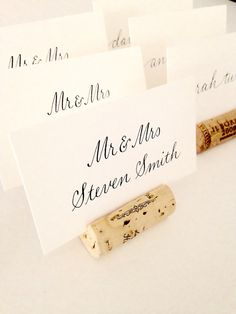 Classic wedding Place Card display, because who doesn't love wine??? Corks are selected for coloration & quality, and hand-cut to order.