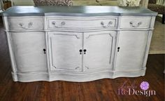 Sideboard painted with layered grey tones to give dimension