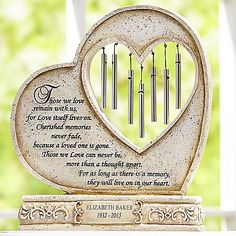 Need a unique gift? Send They'll Live On In Our Hearts Memorial Chime and other personalized gifts at Personal Creations. Memorial Garden Stones, Memorial Flowers, Grieving Gifts, Memorial Wind Chimes, Grave Decorations, Graveside Decorations, Memorial Gifts, Memorial Ideas, Memorial Plaques