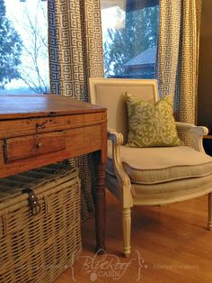 blue roof cabin: Living Room Makeover, New Curtains