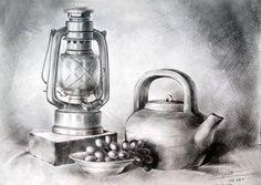 21 Oil Lamp Pencil Drawing Ideas - New Pencil Sketch Drawing, Basic Drawing, Pencil Art Drawings, Art Drawings Sketches, Easy Drawings, Drawing Ideas, Still Life Sketch, Still Life Drawing, Still Life Art