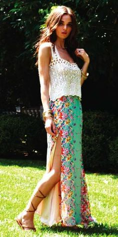 Down to the sandals I want this outfit...Boho Style w/ slit maxi skirt-Kad