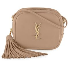 Saint Laurent Monogram Blogger Crossbody Bag ($1,050) ❤ liked on Polyvore featuring bags, handbags, shoulder bags, beige, monogrammed handbags, shoulder strap bag, yves saint laurent handbags, tassel purse and yves saint laurent purses