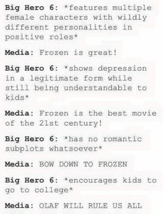 THANK YOU! << Don't get me wrong, Frozen is a great movie, but Big Hero 6 really isn't appreciated enough!