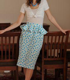 high waisted pencil skirt with peplum