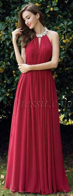 3ac2324ade81 Burgundy Pleated Halter Formal Evening Dress Cut with a slash neckline and  Halter design
