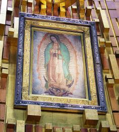 Holy Relic - Our Lady of Guadalupe in New Basilica, Tepeyac Mexico City. This is the image of Our Lady of Guadalupe that appeared on Saint Juan Diego's tilma (cloak) and is the object of a massive pilgrimage every December 12.