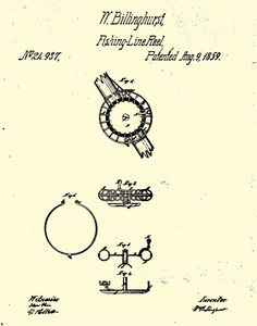 The patent drawing for William Billinghurst's sidemount reel. From the collection of the American Museum of Fly Fishing.