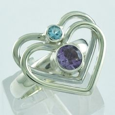 AMETHYST & BLUE TOPAZ STONE HEART SHAPED 925 HANDMADE STERLING SILVER RING #SilvexImagesIndiaPvtLtd #Statement