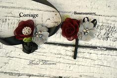 Burgundy Black Gray Chiffon Satin Flower Wrist Corsage