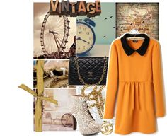 """Vintage orange dress"" by fashon4carolyn ❤ liked on Polyvore"
